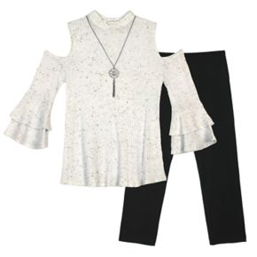 Girls 7-16 IZ Amy Byer Thermal Cold-Shoulder Bell Sleeve Tunic & Leggings Set with Necklace