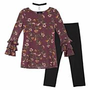 Girls 7-16 IZ Amy Byer Printed French Terry Triple Bell Sleeve Tunic & Leggings Set with Choker Necklace