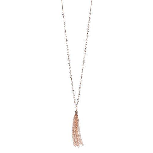 LC Lauren Conrad Long Beaded Link Tassel Necklace