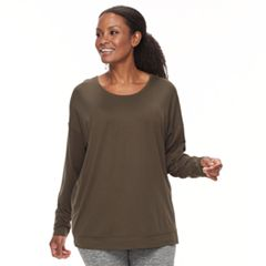 Plus Size Tek Gear® Long Sleeve Cross Back Crew Top