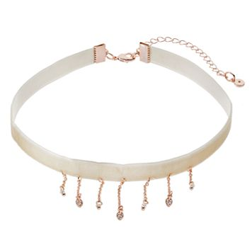 LC Lauren Conrad Pave Leave Fringe Choker Necklace