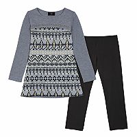 Girls 7-16 IZ Amy Byer Foil Hatchi Top & Leggings Set