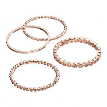 LC Lauren Conrad Cubic Zirconia Twisted Stackable Ring Set
