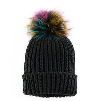 Women's SO® Faux Fur Pom Pom Ribbed Beanie