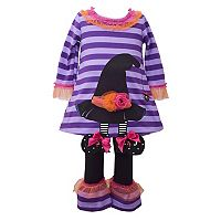 Toddler Girl Bonnie Jean Witch Hat Dress & Ruffled Leggings Set