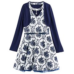 Girls 7-16 Knitworks Floral Flocked Skater Dress & Shrug Set