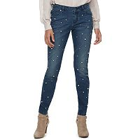 Women's Jennifer Lopez Simulated-Pearl Skinny Jeans