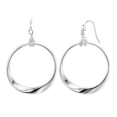 Jennifer Lopez Silver Tone Nickel Free Wavy Hoop Drop Earrings