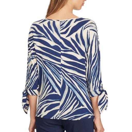 Women's Chaps Print Tie Sleeve Top
