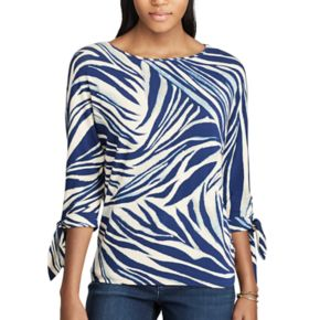 Women's Chaps Print Tie Sleeve Top