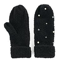 Women's SO® Simulated Pearl & Rhinestone Knit Mittens