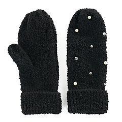 Women's SO® Simulated Pearl & Rhinestone Knit Mittens