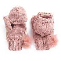 SO® Faux Fur Pom Pom Flip-Top Mittens