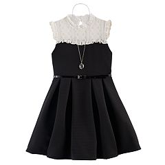 Girls 7-16 Knitworks Belted Lace Skater Dress