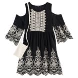 Girls 7-16 Knitworks Crochet Lace Embroidered Cold Shoulder Dress with Crochet Lace Purse