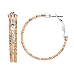 Jennifer Lopez Tri Tone Nickel Free Triple Textured Hoop Earrings