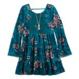 Girls 7-16 Knitworks Floral Crushed Velvet Tiered Dress & Necklace Set