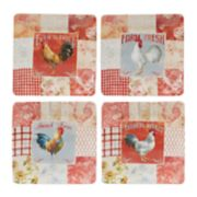 Certified International Farm House Rooster 4-pc. Dinner Plate Set