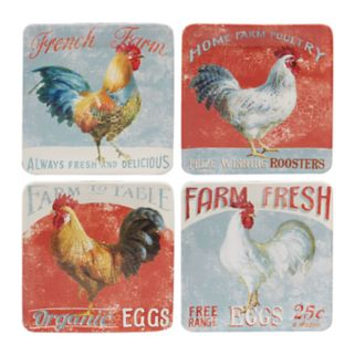 Certified International Farm House Rooster 4-pc. Salad Plate Set