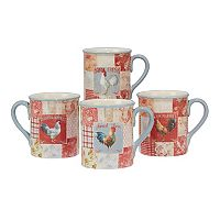 Certified International Farm House Rooster 4 pc Mug Set