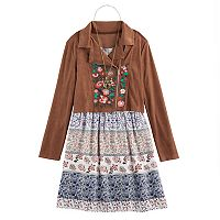 Girls 7-16 Knitworks Moto Jacket, Floral Dress & Necklace Set