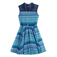 Girls 7-16 Knitworks Lace Yoke Printed Skater Dress with Belt & Necklace