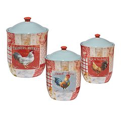 Certified International Farm House Rooster 3 pc Canister Set
