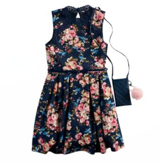 Girls 7-16 Knitworks Floral Skater Dress with Poof Purse