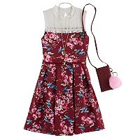 Girls 7-16 Knitworks Lace Yoke Floral Skater Dress with Crossbody Purse