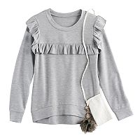 Girls 7-16 Knitworks Ruffle Pullover with Crossbody Purse