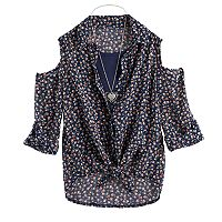 Girls 7-16 Knitworks Cold Shoulder Tie Front Top with Necklace