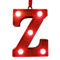 St. Nicholas Square® Red Glitter Light-Up Marquee Letter Christmas Ornament