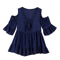 Girls 7-16 Knitworks Cold-Shoulder 3/4-Sleeve Tiered Top