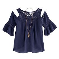 Girls 7-16 Knitworks Cold Shoulder Bell Sleeve Top with Necklace