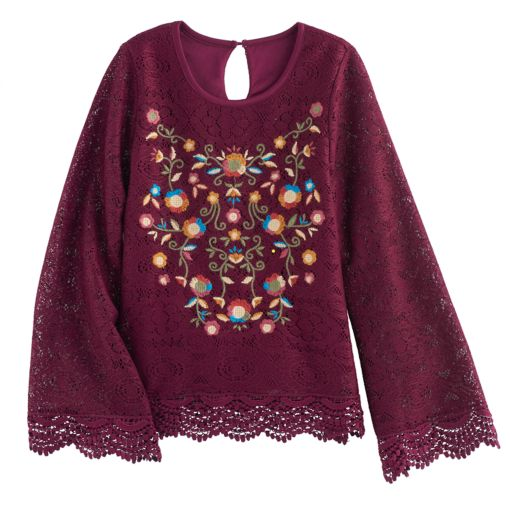 Girls 7-16 Knitworks Lace Floral Embroidered Top