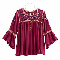 Girls 7-16 Knitworks Embroidered Bell Sleeve Peasant Top with Necklace