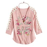 Girls 7-16 Knitworks Crochet Lattice Top with Necklace