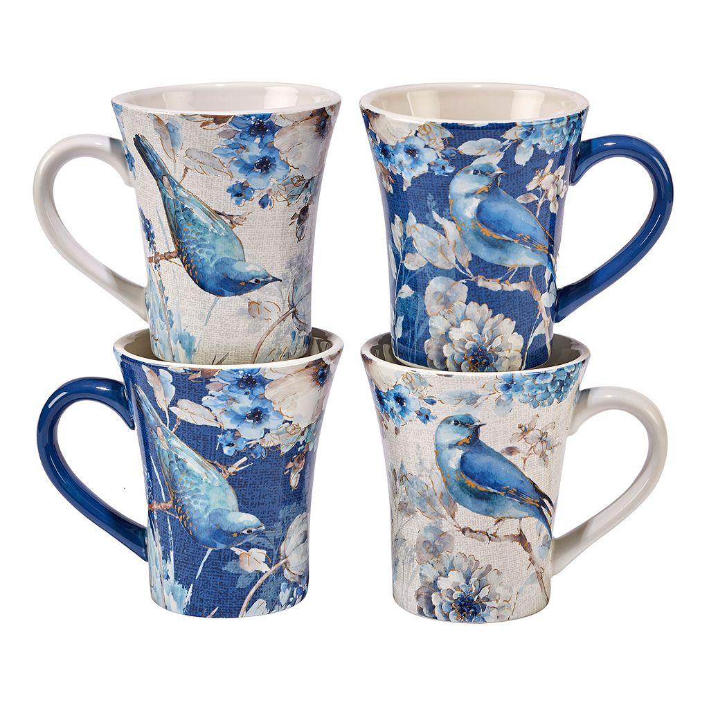 Certified International Indigold Bird 4-pc. Mug Set