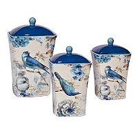 Certified International Indigold Bird 3 pc Canister Set