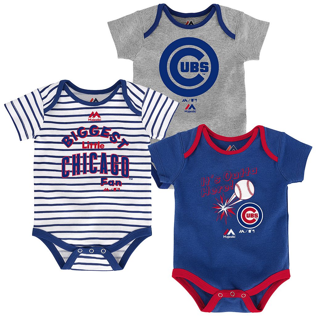 Baby Majestic Chicago Cubs 3-Pack Homerun Bodysuit Set