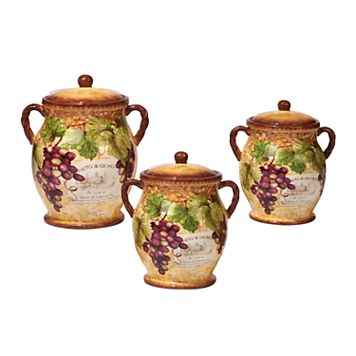 Certified International Gilded Wine 3-pc. Canister Set