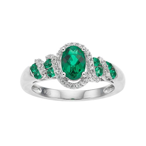 Sterling Silver Lab-Created Emerald & White Sapphire Oval Halo Ring