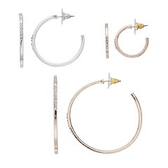 Simulated Crystal Nickel Free Hoop Earrings