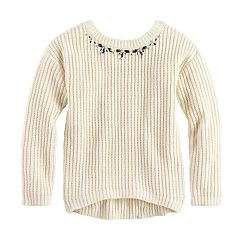 Girls 7-16 Sugar Rush Jeweled Neck Sweater