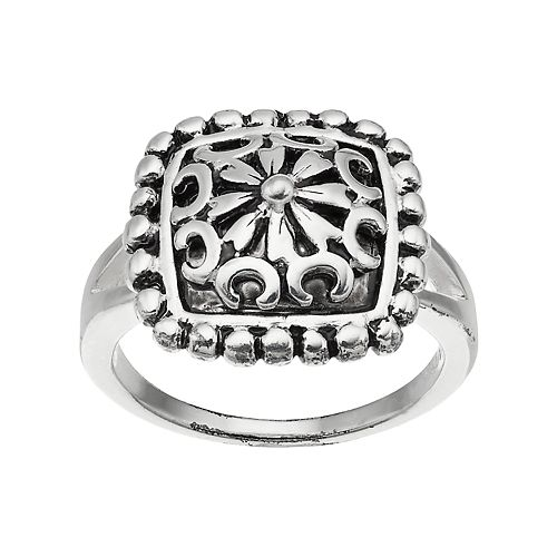 Sterling Silver Bali Square Ring