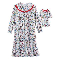 Girls 4-12 Frosty the Snowman Nightgown & Doll Gown Pajama Set