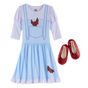 Girls 4-12 The Wizard of Oz Dorothy Costume Nightgown & Red Sequin Slippers Set
