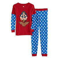 Girls 4-10 DC Comics Wonder Woman Thermal Mock-Layer Tee & Thermal Star Print Bottoms Set