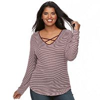 Juniors' Plus Size SO® Crisscross Top