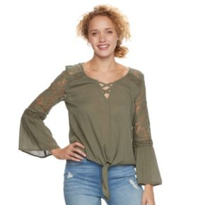 Juniors' Mudd® Lace Shoulder Bell Sleeve Top